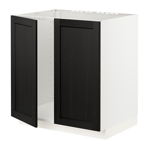 METOD - base cabinet for sink + 2 doors, white/Lerhyttan black stained | IKEA Hong Kong and Macau - PE796452_S4