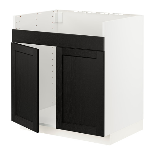METOD - base cab f HAVSEN double bowl sink, white/Lerhyttan black stained | IKEA Hong Kong and Macau - PE796361_S4