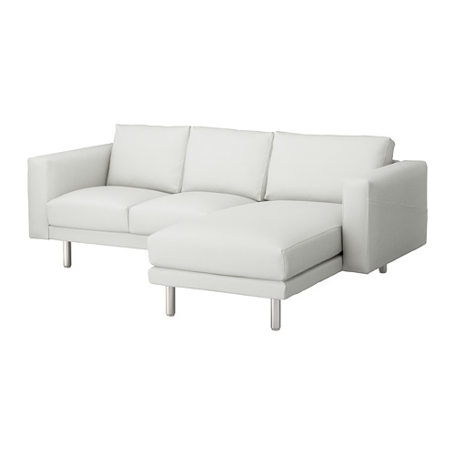NORSBORG - 3-seat sofa, with chaise longue/Finnsta white/metal   IKEA Hong Kong and Macau - PE654104_S4