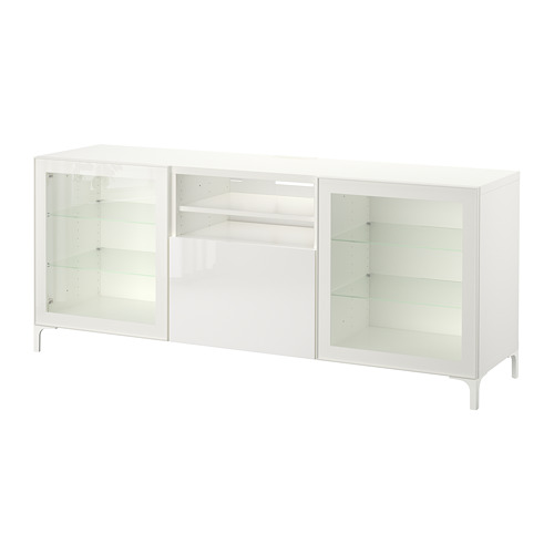 BESTÅ - TV bench with drawers, white/Selsviken high-gloss/white clear glass | IKEA Hong Kong and Macau - PE701298_S4