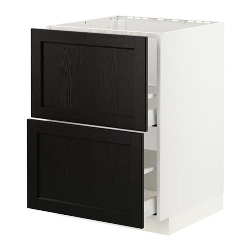 METOD/MAXIMERA - 星盆用地櫃連2面板/2抽屜, white/Lerhyttan black stained   IKEA 香港及澳門 - PE796428_S4