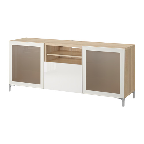 BESTÅ - TV bench with drawers, white stained oak effect/Selsviken high-gloss/white frosted glass | IKEA Hong Kong and Macau - PE701329_S4