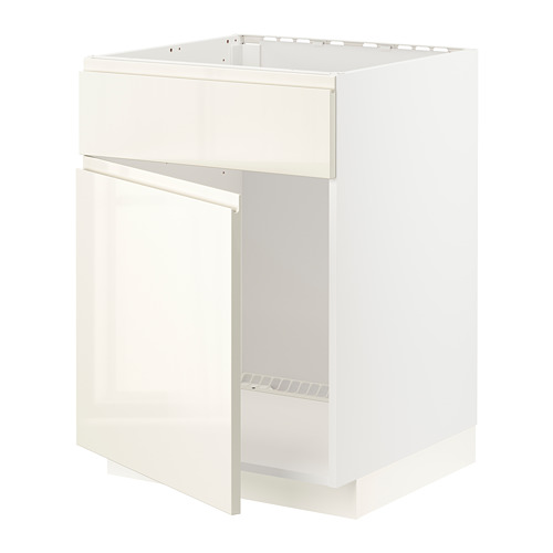 METOD - base cabinet f sink w door/front, white/Voxtorp high-gloss light beige | IKEA Hong Kong and Macau - PE796576_S4