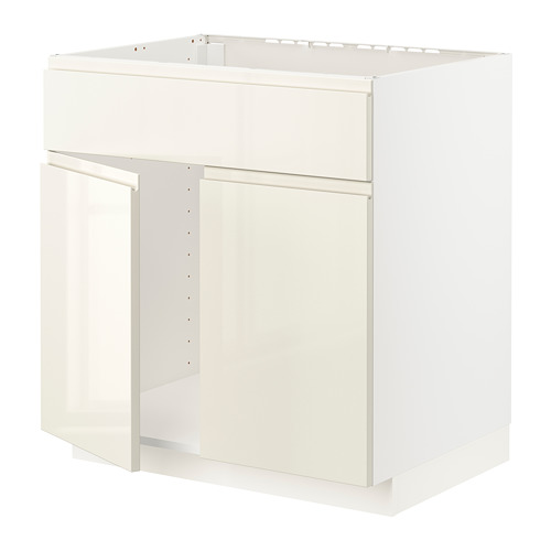 METOD - 星盆用地櫃連一對門/面板, white/Voxtorp high-gloss light beige | IKEA 香港及澳門 - PE796544_S4