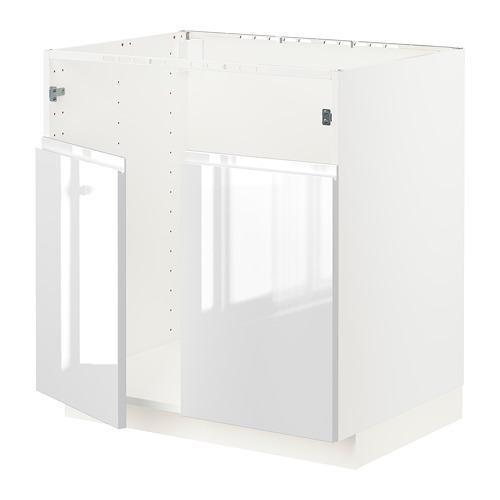 METOD - base cab f BREDSJÖN dbl bowl sink, white/Voxtorp high-gloss/white | IKEA Hong Kong and Macau - PE796573_S4