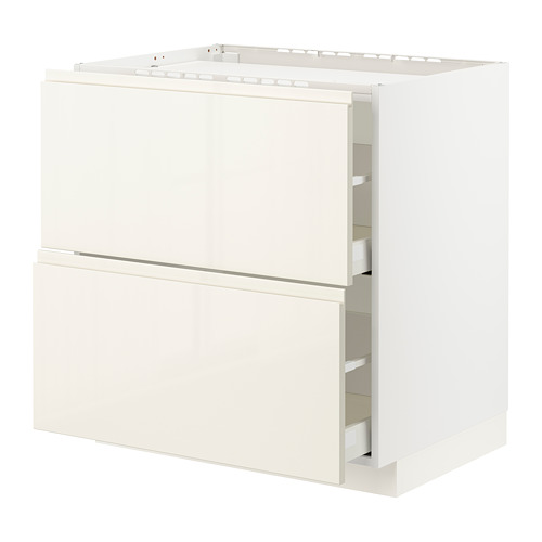 METOD/MAXIMERA - base cab f hob/2 fronts/2 drawers, white/Voxtorp high-gloss light beige | IKEA Hong Kong and Macau - PE796577_S4