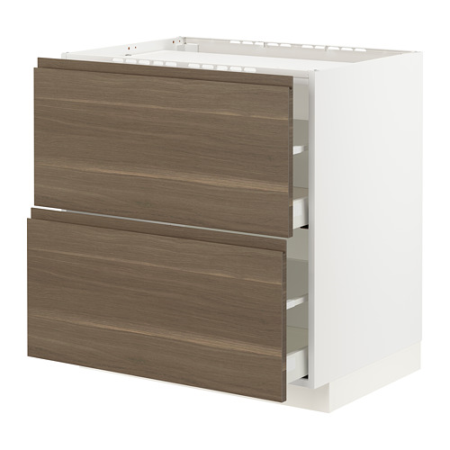 METOD/MAXIMERA - base cab f hob/2 fronts/2 drawers, white/Voxtorp walnut effect | IKEA Hong Kong and Macau - PE796553_S4