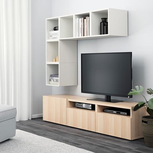 EKET/BESTÅ - 電視貯物組合, white/white stained oak effect | IKEA 香港及澳門 - PE617924_S4
