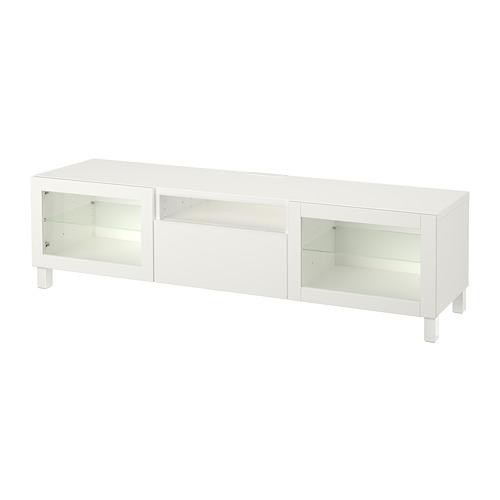 BESTÅ - TV bench, Lappviken/Sindvik white clear glass | IKEA Hong Kong and Macau - PE701564_S4