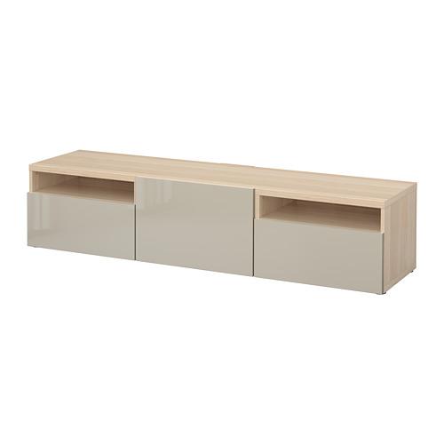BESTÅ - 電視几, 染白橡木紋/Selsviken 光面/米黃色 | IKEA 香港及澳門 - PE701557_S4