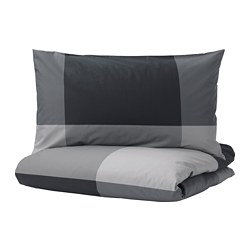 BRUNKRISSLA - quilt cover and pillowcase, black, 150x200/50x80 cm  | IKEA Hong Kong and Macau - PE701579_S3