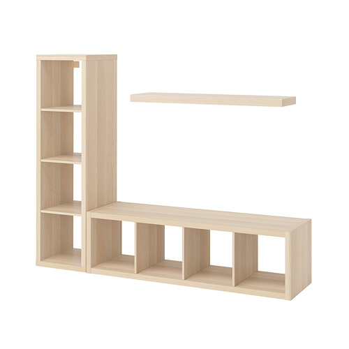LACK/KALLAX - storage combination with shelf, white stained oak effect | IKEA Hong Kong and Macau - PE796964_S4