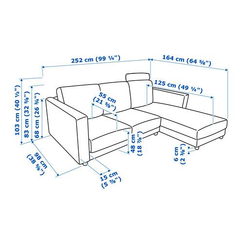 VIMLE - 3-seat sofa with chaise longue, with headrest/Gunnared beige | IKEA Hong Kong and Macau - PE743107_S4
