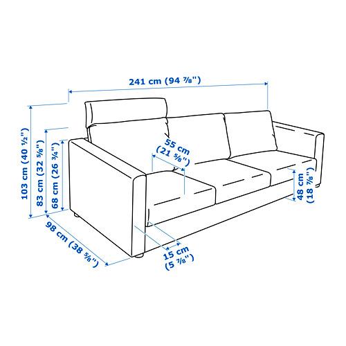 VIMLE - 3-seat sofa, with headrest/Saxemara light blue | IKEA Hong Kong and Macau - PE743108_S4