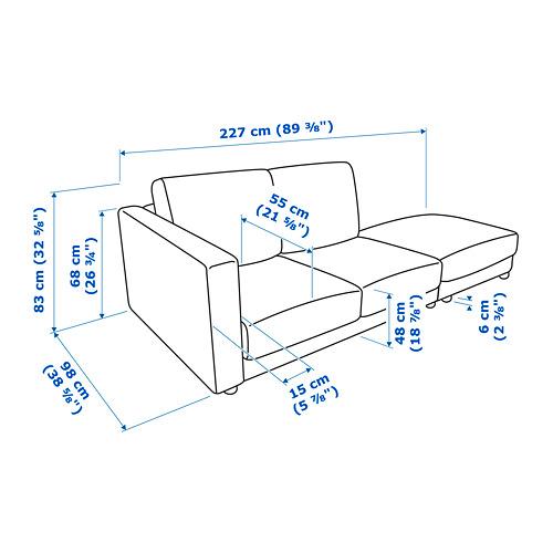 VIMLE corner sofa, 3-seat