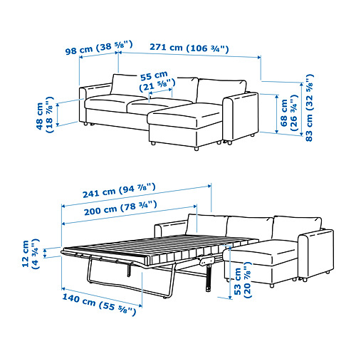 VIMLE - 3-seat sofa-bed with chaise longue, Gunnared medium grey | IKEA 香港及澳門 - PE743131_S4