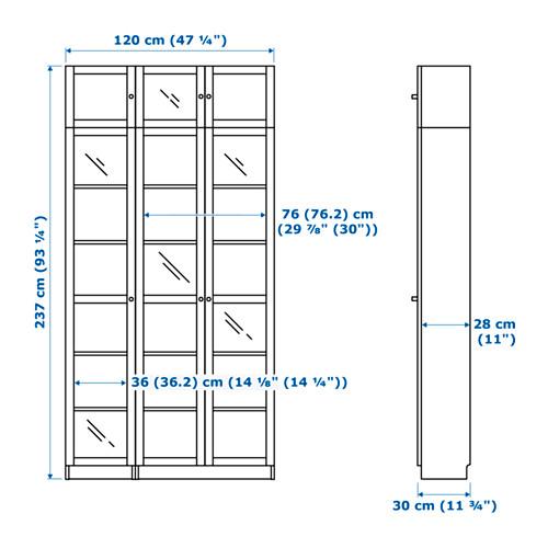 BILLY/OXBERG - bookcase, black-brown/glass   IKEA Hong Kong and Macau - PE654769_S4