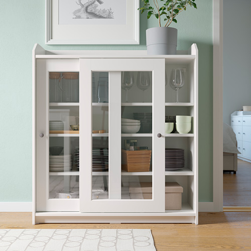 HAUGA glass-door cabinet