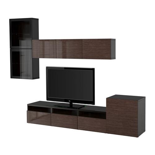 BESTÅ - 電視貯物組合/玻璃門, 棕黑色/Selsviken 光面/褐色/透明玻璃 | IKEA 香港及澳門 - PE535654_S4