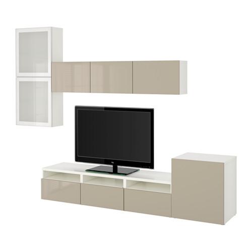 BESTÅ - 電視貯物組合/玻璃門, white/Selsviken high-gloss/beige frosted glass | IKEA 香港及澳門 - PE535628_S4