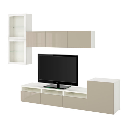 BESTÅ - TV storage combination/glass doors, white/Selsviken high-gloss/beige clear glass | IKEA Hong Kong and Macau - PE535618_S4
