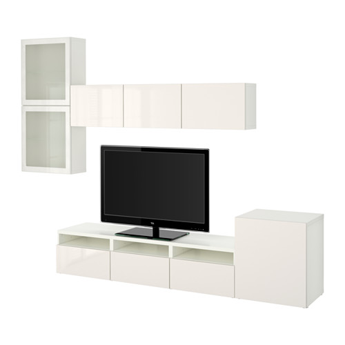 BESTÅ - TV storage combination/glass doors, white/Selsviken high-gloss/white frosted glass | IKEA Hong Kong and Macau - PE536121_S4
