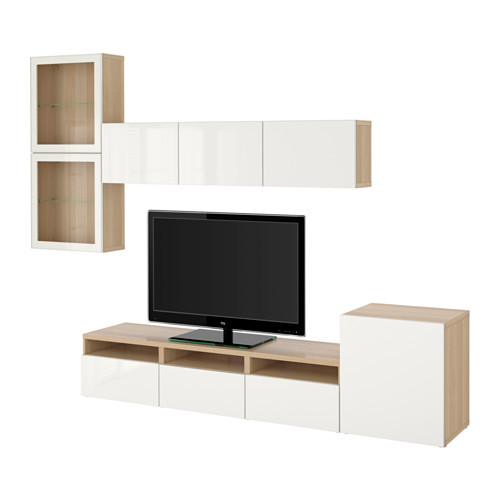 BESTÅ - 電視貯物組合/玻璃門, 染白橡木紋/Selsviken 光面/白色/透明玻璃 | IKEA 香港及澳門 - PE536130_S4