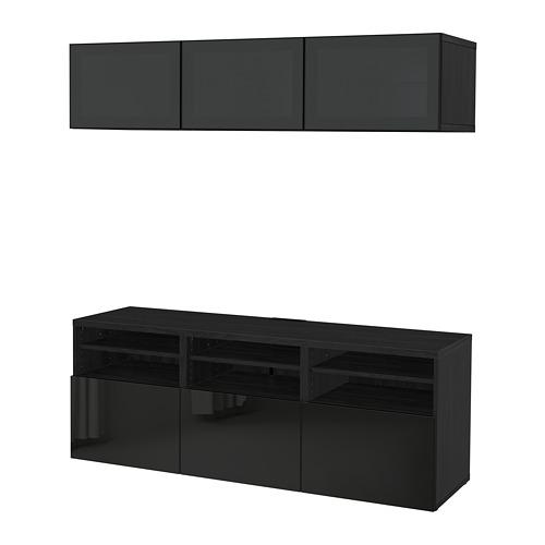 BESTÅ - 電視貯物組合/玻璃門, 棕黑色/Selsviken 光面/黑色/茶色玻璃 | IKEA 香港及澳門 - PE702251_S4