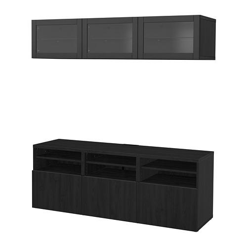 BESTÅ - TV storage combination/glass doors, Lappviken/Sindvik black-brown clear glass | IKEA Hong Kong and Macau - PE702252_S4