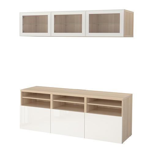 BESTÅ - TV storage combination/glass doors, white stained oak effect/Selsviken high-gloss/white clear glass | IKEA Hong Kong and Macau - PE702284_S4