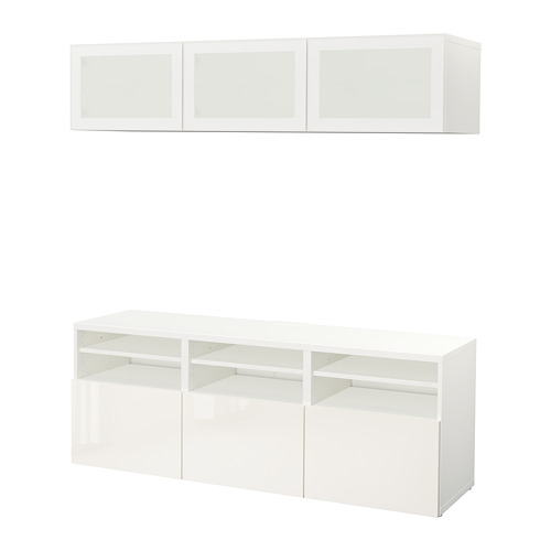 BESTÅ - TV storage combination/glass doors, white/Selsviken high-gloss/white frosted glass | IKEA Hong Kong and Macau - PE702293_S4