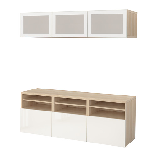 BESTÅ - TV storage combination/glass doors, white stained oak effect/Selsviken high-gloss/white frosted glass | IKEA Hong Kong and Macau - PE702281_S4