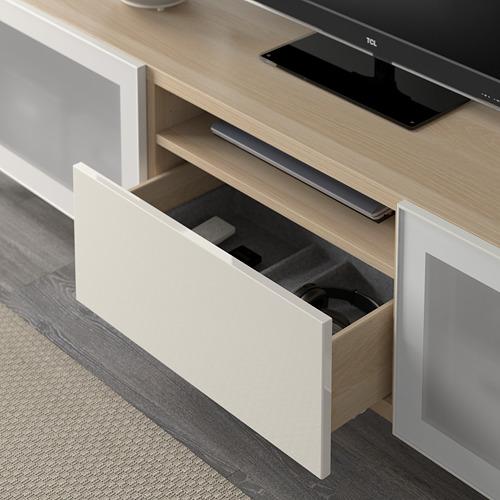 BESTÅ - TV bench, white stained oak effect/Selsviken/Nannarp high-gloss/white frosted glass   IKEA 香港及澳門 - PE591536_S4