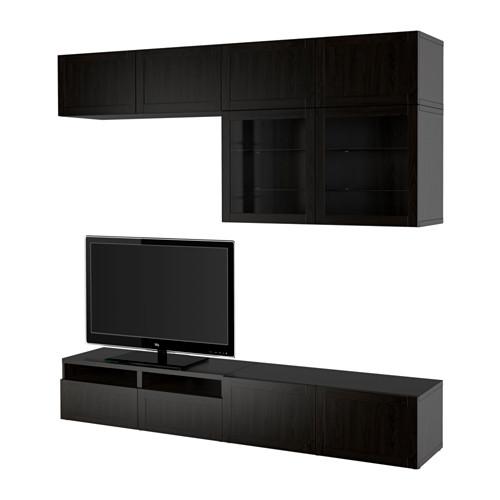 BESTÅ - TV storage combination/glass doors, Hanviken black-brown clear glass | IKEA Hong Kong and Macau - PE535554_S4