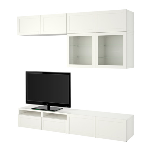 BESTÅ - TV storage combination/glass doors, Hanviken white clear glass | IKEA Hong Kong and Macau - PE535555_S4