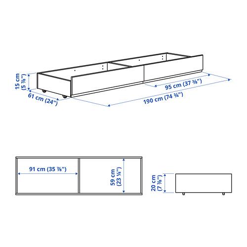 HAUGA - 軟墊床底貯物箱, Vissle 灰色, 雙人床架用 | IKEA 香港及澳門 - PE797336_S4