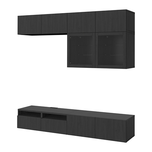 BESTÅ - TV storage combination/glass doors, Lappviken/Sindvik black-brown clear glass | IKEA Hong Kong and Macau - PE703023_S4