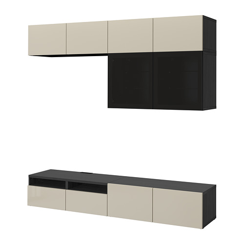 BESTÅ - TV storage combination/glass doors, black-brown/Selsviken high-gloss/beige smoked glass | IKEA Hong Kong and Macau - PE703061_S4