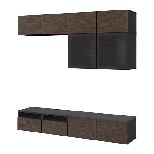 BESTÅ - TV storage combination/glass doors, black-brown/Selsviken high-gloss/brown clear glass | IKEA Hong Kong and Macau - PE703051_S4