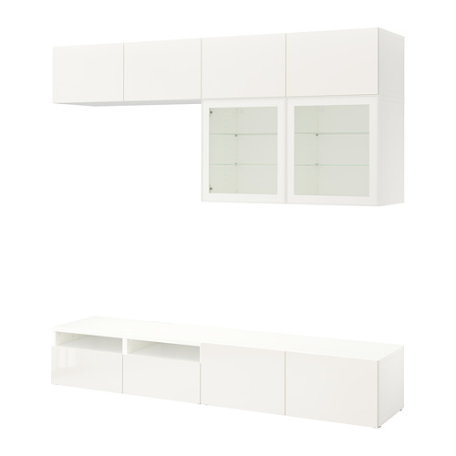 BESTÅ - TV storage combination/glass doors, white/Selsviken high-gloss/white clear glass | IKEA Hong Kong and Macau - PE703084_S4