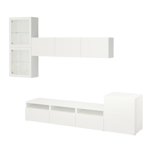 BESTÅ - TV storage combination/glass doors, Lappviken/Sindvik white clear glass | IKEA Hong Kong and Macau - PE703100_S4