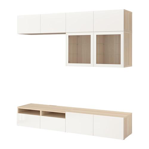 BESTÅ - 電視貯物組合/玻璃門, white stained oak effect/Selsviken high-gloss/white clear glass   IKEA 香港及澳門 - PE703093_S4