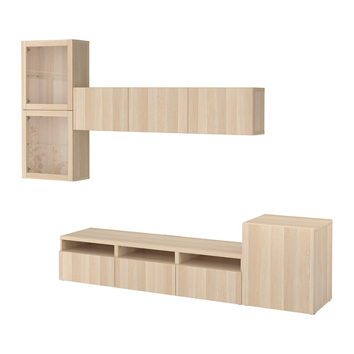 BESTÅ - TV storage combination/glass doors, Lappviken/Sindvik white stained oak eff clear glass | IKEA Hong Kong and Macau - PE703099_S4