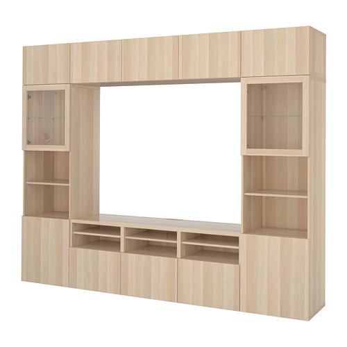 BESTÅ - TV storage combination/glass doors, Lappviken/Sindvik white stained oak eff clear glass | IKEA Hong Kong and Macau - PE703193_S4