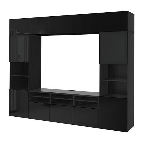BESTÅ - 電視貯物組合/玻璃門, black-brown/Selsviken high-gloss/black smoked glass | IKEA 香港及澳門 - PE703185_S4