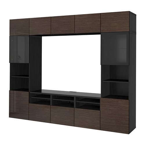BESTÅ - TV storage combination/glass doors, black-brown/Selsviken high-gloss/brown clear glass | IKEA Hong Kong and Macau - PE703186_S4