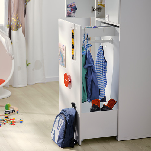 SMÅSTAD - wardrobe with pull-out unit, white with frame/with clothing rod | IKEA Hong Kong and Macau - PE797555_S4