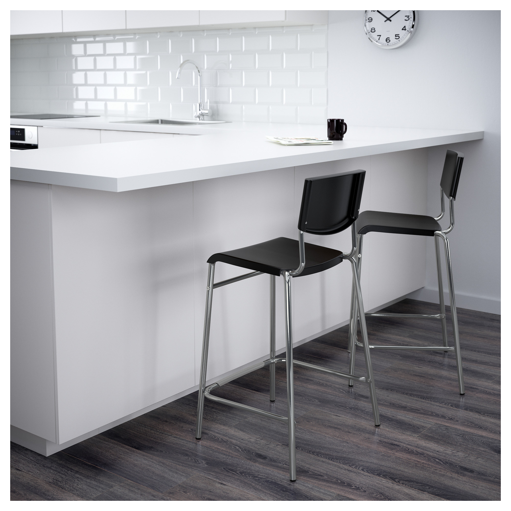 Taburete Stig.Stig Bar Stool With Backrest Black Silver Colour Ikea