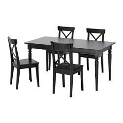 INGATORP/INGOLF - 一檯四椅, 黑色/黑褐色 | IKEA 香港及澳門 - PE595673_S3