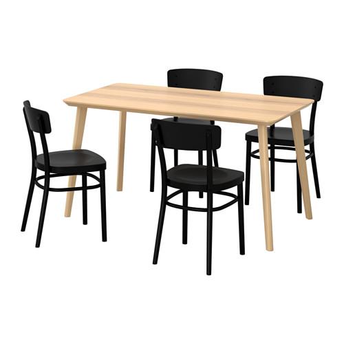 IDOLF/LISABO - table and 4 chairs, ash veneer/black | IKEA Hong Kong and Macau - PE595679_S4